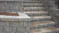 retaining wall concrete blocks stairs hardscape