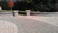 belgard concrete brick paver patio sitting bench